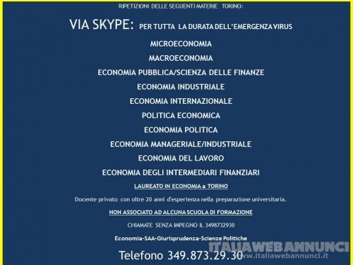 RIPETIZIONI VIA SKYPE DI MATERIE ECONOMICHE: MACRO-MICROECONOMIA, ECO MANAGERIALE PUBBLICA INDUSTRIALE...