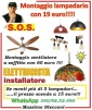 Manodopera montaggio lampadario a Roma con 19 euro